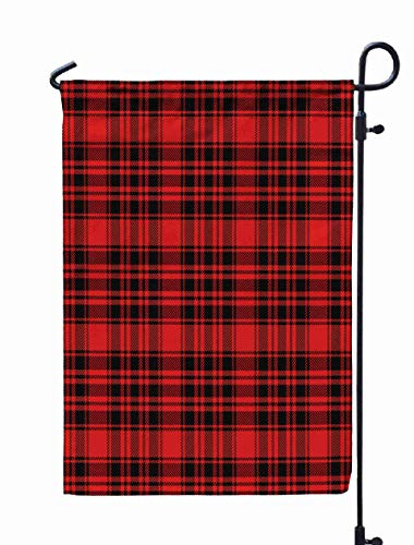 Shorping Welcome Garden Flag, 12x18Inch Christmas New Year Tartan Plaid Scottish Pattern in Black Red Cage Traditional Checkered Background for Holiday and Seasonal Double-Sided Printing Yards Flags -