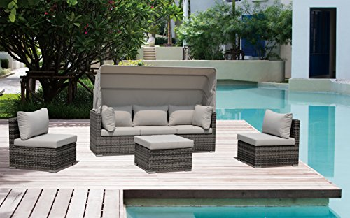 Courtyard Casual Taupe Aurora Outdoor Sectional to Daybed Combo with Canopy - Great for any outdoor setting: patio, covered patio, deck, fire pit, outdoor kitchen, Poolside, lanai, gazebo, etc Fade and UV resistant and safe in full sun exposure Synthetic Rattan weave and a powder coated aluminum frame - patio-furniture, patio, conversation-sets - 51kVJZY85rL -