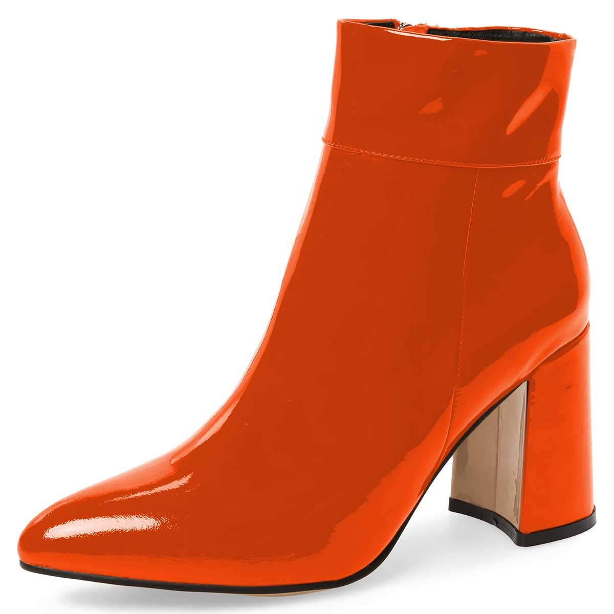 orange FSJ Women Pointed Toe Block High Heels Ankle Boots Glossy Patent Leather Party Dress Booties Size 4-15 US