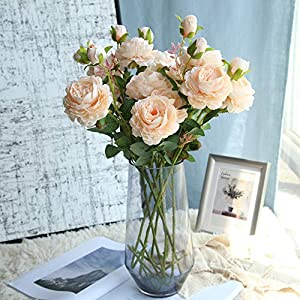 """Lemax 24"""" Long Artificial Peony Silk Peony Bouquets Fake Flowers Wedding Home Decoration,Pack of 3 1"""