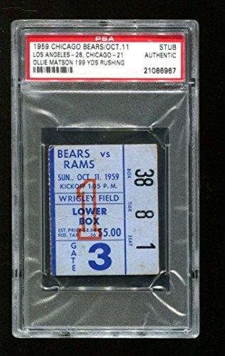 1959 Los Angeles Rams vs Chicago Bears Football Ticket PSA Ollie Matson 199 Yds