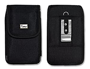 Vertical Heavy Duty Rugged Canvas Belt Clip Case Cover Pouch Holster For Lg Vortex & Huawei Summit Compatible With Mophie Juice Pack On it -Sold by MechSoft Tech