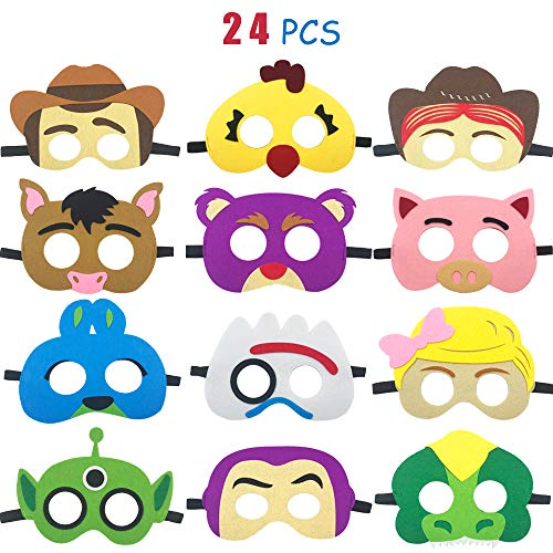 Buzz Lightyear Costume Womens (24 pcs Toy 4th Masks Birthday Party Supplies Toys 4th Adventure Party Favors Dress Up Costume Mask Include Woody Buzz Lightyear Forky Bo Peep Bullseye Jessie Rex for)