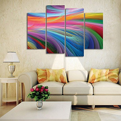 HD 4 Panel Abstract Rainbow Colors Wall Art Oil Painting