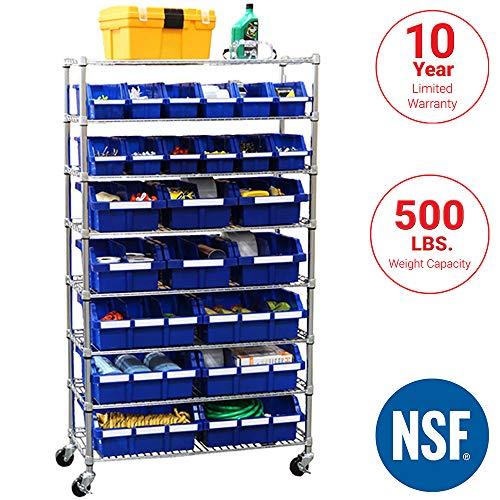 Seville Classics Commercial 8-Tier UltraZinc/Blue NSF 24-Bin Rack Storage System