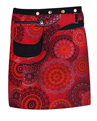 Mandala Rouge TATTOPANI Femmes Warp Fermeture pour Jupe Print Mini Button wqZEq