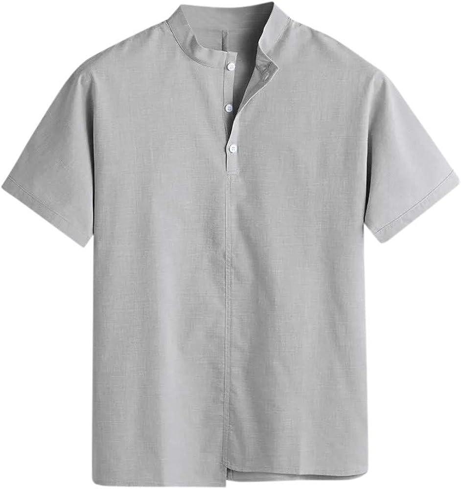 TUDUZ Camisetas Hombre Manga Corta Camisa de Algodón y Lino en ...