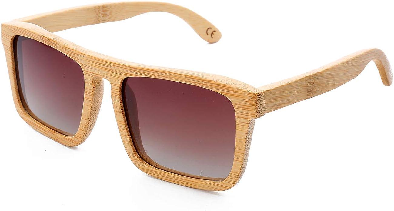 Mini Tree Gafas de sol de bambú clásicas polarizadas vintage para hombres/mujeres de montaje completo UV400