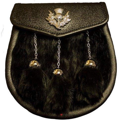 Demi robe escarcelle Black Rabbit 3 Tassel Noir Flap lumineux Insigne Thistle