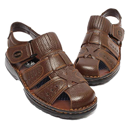 EpicStep Men's Brown Comfort Cushioned Leather Closed Toe Strappy Fisherman Sandals Shoes 10 US