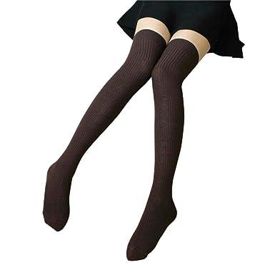 22b60789b2a3f Women Thigh High Socks Over Knee Stripe Girls Cotton Football Socks Black  White ,HOMEBABY (free, Coffee): Amazon.co.uk: Clothing
