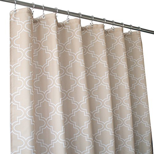 Eforgift Moroccan Shabby Chic Design Shower Curtains Long 72 x 78-inch, Water Repellent Mildew Resistant Bath Curtain Anti-Bacterial Polyester All Ages, Classy Khaki Quatrefoils, Stain Proof