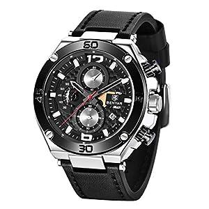 BENYAR – Montre Homme | Montre chronographe | Bracelet en Cuir | Mouvement Quartz | Étanche à 30 m et résistant aux…