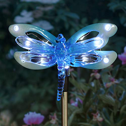 Exhart Dragonfly Metal Stake w/ 12 LED Lights - Solar Baby Blue Acrylic Dragonfly Stake - Features Solar LED Decor Lights - Solar Dragonfly Decor, 4 X 34