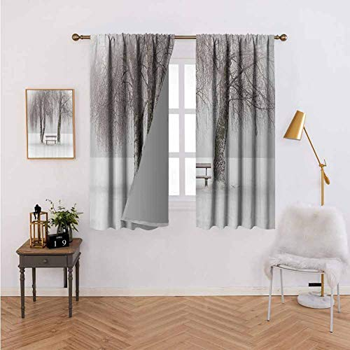 Heat Insulation Curtain Farm House Decor Bench in The Snow Between Trees Winter Theme Picture Snowflakes Christmas Season Art White Brown Kids Room Living Room Dorm W84 xL84
