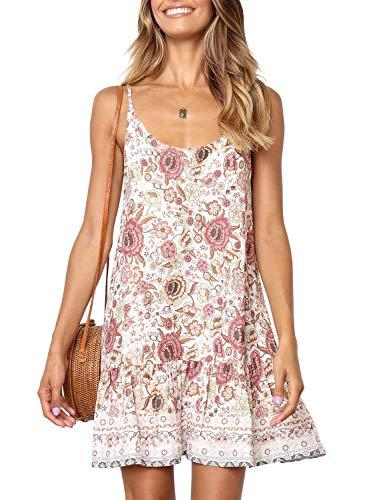 (ZESICA Women's Summer Floral Printed Spaghetti Strap V Neck Ruffle A line Swing Beach Short Dress)