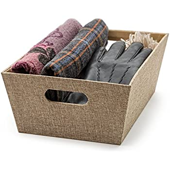 decorative storage box fabric organizer bins 11 x 15 x 525 built in handles extra durable storage bins moisture proof interior for toys - Decorative Storage Bins