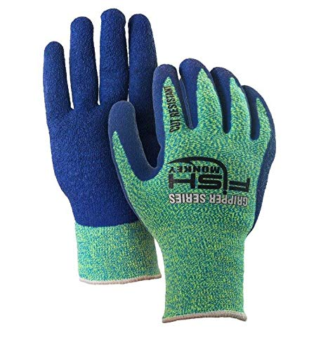 Fish Monkey Fillet Gripper Cut Resistant Glove (Neon Green/Royal Blue, Small/Medium)