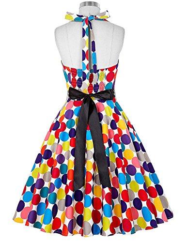 Robe Rétro Col Cœur Sans Manche 1950s Multicolore Taille L CL6075-16