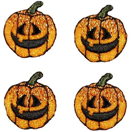Expo International Halloween Mini Jack-O-Lantern Iron-on Applique Trim Embellishment, Multi-Color, 4-Pack -