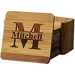Personalized Coasters - Bamboo Coasters for Drinks with Holders - Square 7 Piece Set
