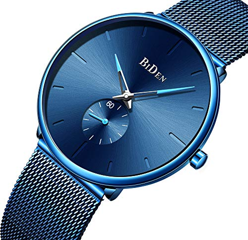- Mens Watches Clearance Waterproof Blue Wrist Watch for Men Analog Quartz Waterproof Date Watch with Stainless Steel Milanese Mesh Band (0124Blue) …