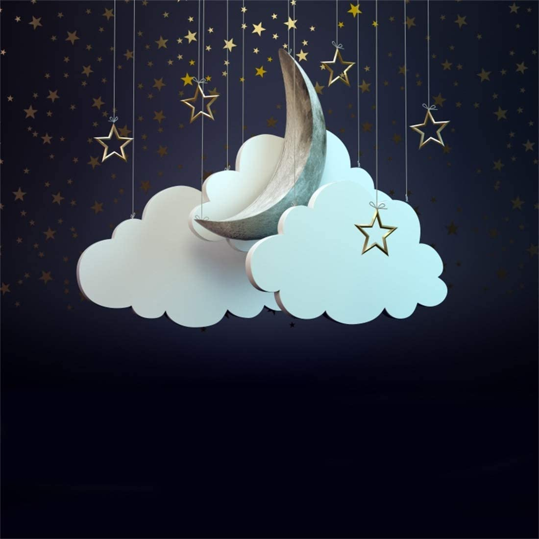 Yeele Moon Backdrops 9x9ft //2.7 X 2.7M Night Sky Cloud Stars Pictures Adult Artistic Portrait Photoshoot Props Photography Background