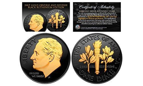 Silver Us Type Coin - 1950 's U.S. Genuine Silver BU Roosevelt Dime 24K GOLD & Full BLACK RUTHENIUM