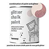 Hemway Peaches n Cream Chalk Paint (with Rose Gold Glitter) Sparkle Matt finish Wall and Furniture Paint 1L / 35oz Shabby Chic Vintage Chalky Crystal (25 Glittery Colours Available)