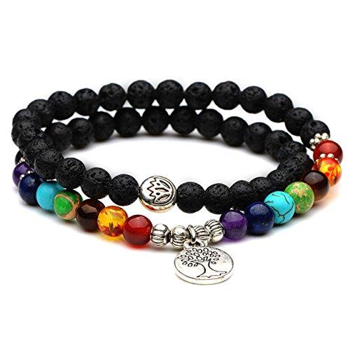 Domika Men Women 6mm Lava Rock Stone 7 Chakra Healing Crystal Beads Yoga Meditation Bracelet with Tree of Life Charm (Multi color) (Bracelet Rock Stretch Crystal)
