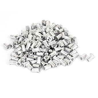 eDealMax 300 piezas de aluminio M5 Con rosca de cabeza Plana Rivet Nuts Nutserts sujetadores