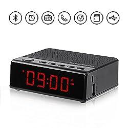Alarm Clock Radio with Audio Bluetooth Speaker, FM Radio, 6'' digital LED Time Display, Snooze and USB/TF Card Port for bedroom