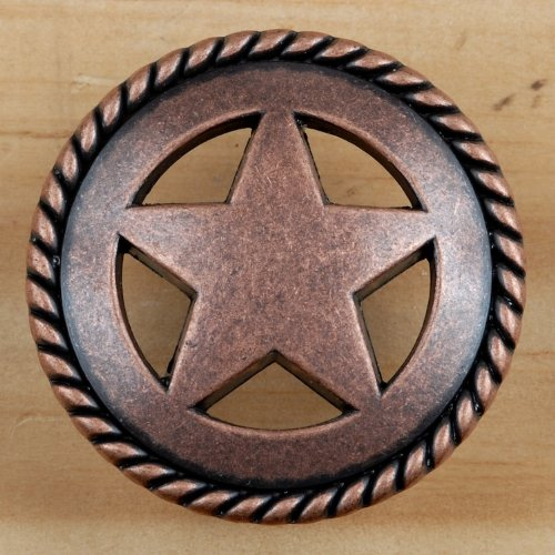 Set of 6 Rustic Rope Lone Star Drawer Pulls Cabinet Knobs Western Southwest Decor Texas (Antique ()