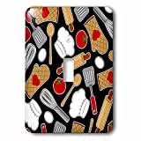 3dRose lsp_172123_1 Cute Chef Or Cook Love Pattern in Black Light Switch Cover