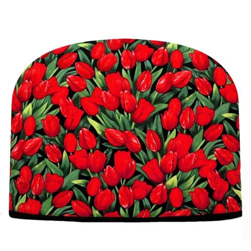 Blue Moon Red Tulips Tea Cozy Double Insulated Tea Cozy Blue Moon Tea Cozy