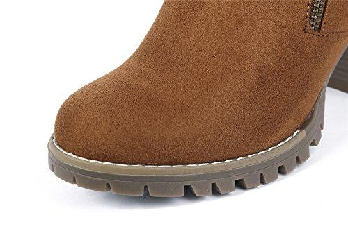 Chiusa Donna Tonda Adulto Shoes Tacco Cerniera con Marrone Punta Alto Stivaletti AgeeMi 5Iw6qSR