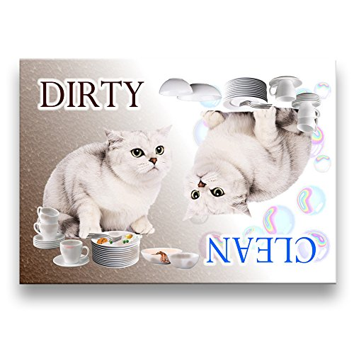 clean dirty dishwasher magnet cat - 3