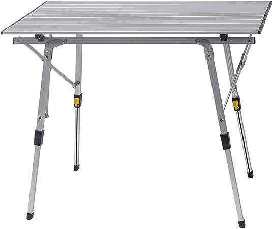 WOLTU Mesa de Camping Mesa Plegable Mesa de Jardín Mesa de Trabajo Mesa de Balcón Aluminio, con Bolsa, Altura Ajustable, 90x52.2X (45-72) cm CPT8129sb: Amazon.es: Hogar