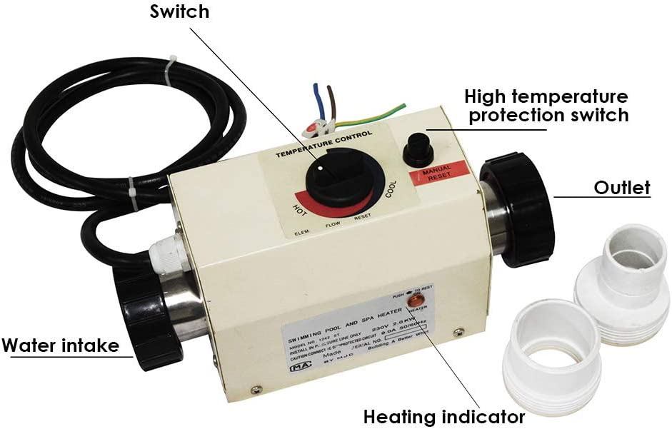 SEAAN Electric SPA Heating Thermostat Swimming Pool Heater 220V 3KW for Jacuzzi Above Ground Pool Spring