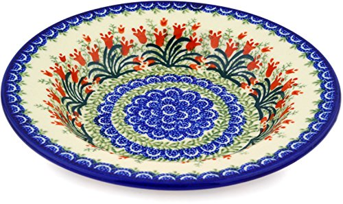 Polish Pottery Pasta Bowl 9-inch Sprouting (12 Ounce Tulip Bowl)