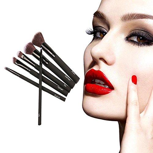 6PC Rubber Cosmetic Makeup Brush Brushes Set Foundation Powder ()