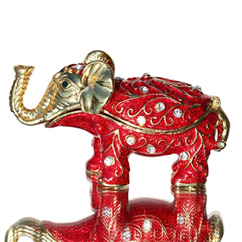 Waltz&F Red Pattern Elephant Trinket Box Hinged Hand-Painted Figurine Collectible Ring Holder with Gift ()