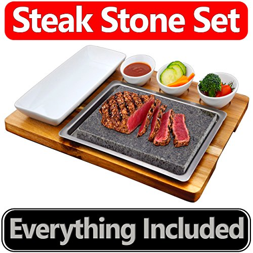 Steak Stone Set by La Mongoose - Premium Basalt Lava Stone - For Hot and Cold Hibachi-Style Cooking - Includes 3 Small Ceramic Bowls and 1 Plate - Acacia Cutting Board and Stainless Steel Tray - New