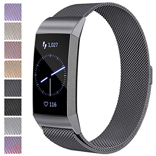 Maledan Replacement Band Compatible with Fitbit Charge 3 for Women Men, Space Gray, Small