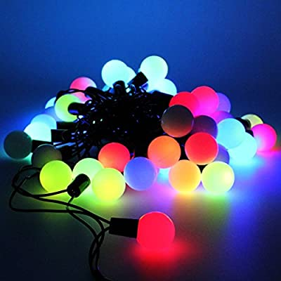 WONFAST® 5M/16.4ft 50 LEDs RGB Ball String Lights with Flashing Waterproof Color Changing Globe String Light for Holiday Christmas New Year Wedding Gardens Lawns Patios Indoor & Outdoor Decoration