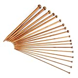 36Pieces Bamboo Knitting Needles Set, Single Pointed Carbonized Knitting Needle 18 Sizes (2mm to 10mm)