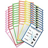 Clipco Dry Erase Pocket Sleeves Assorted Colors (60-Pack)
