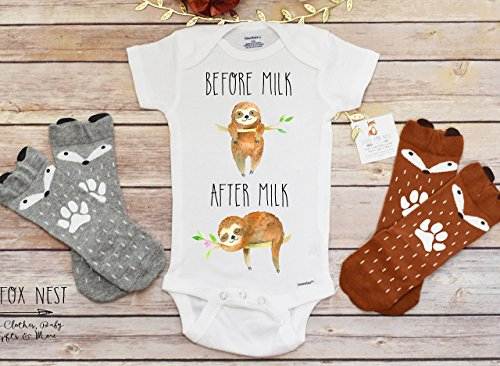 Sloth Onesie®, Breastfeeding Shirt, Baby Boy Clothes, Baby Shower Gift, Boho Baby Clothes, Baby Boy Clothes, Sloth Onesie®, Sloth Shirt, Sloth - Breastfeeding Onesie