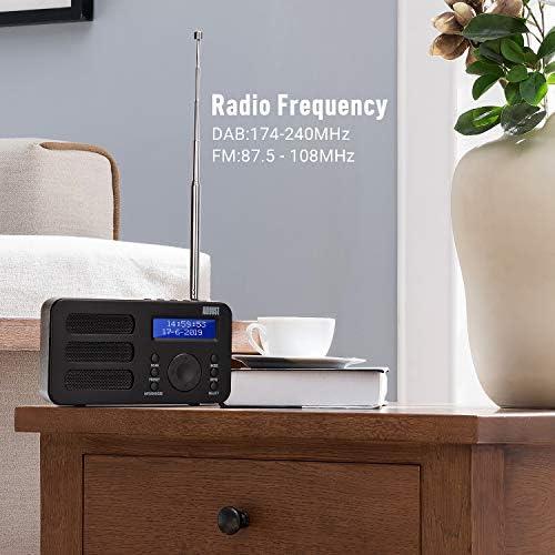 Radio Portátil Digital Dab/Dab+/FM – August MB225 – Radio Pequeña con Batería Recargable - Dual Alarma Despertador Snooze RDS 40 Presintonias Pantalla ...