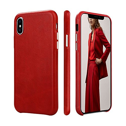 iPhone X Case TOOVREN Ultra Slim Genuine Leather Microfiber Lining Protective iPhone 10 Case Vintage Designer Anti-Slip Grip Shell Back Cover for Apple iPhone X (2017) Red
